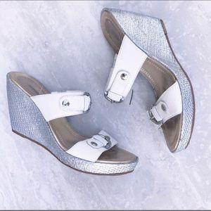 Anotonio Melani White Silver Sandal Wedges